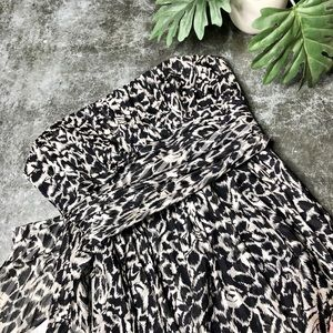 BCBGMAXAZRIA Black Snow Leopard Print Dress